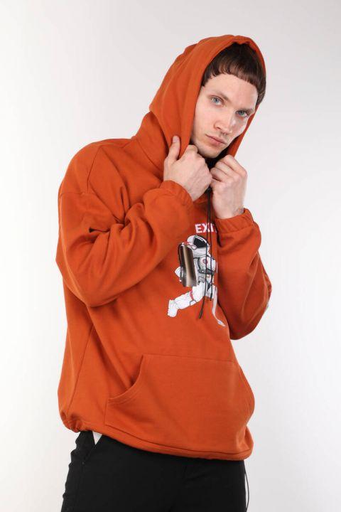 Baskılı Kapüşonlu Turuncu Oversize Erkek Sweatshirt