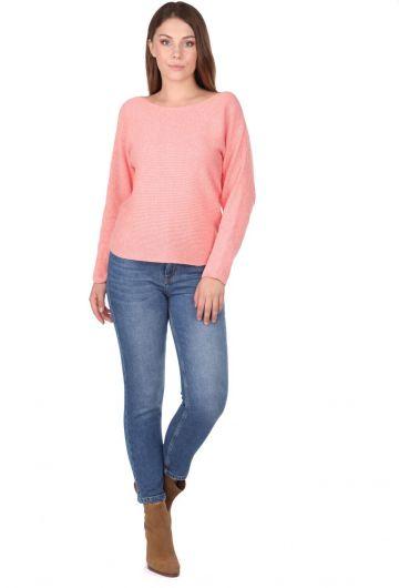 Salmon Crew Neck Women's Knitwear Sweater - Thumbnail