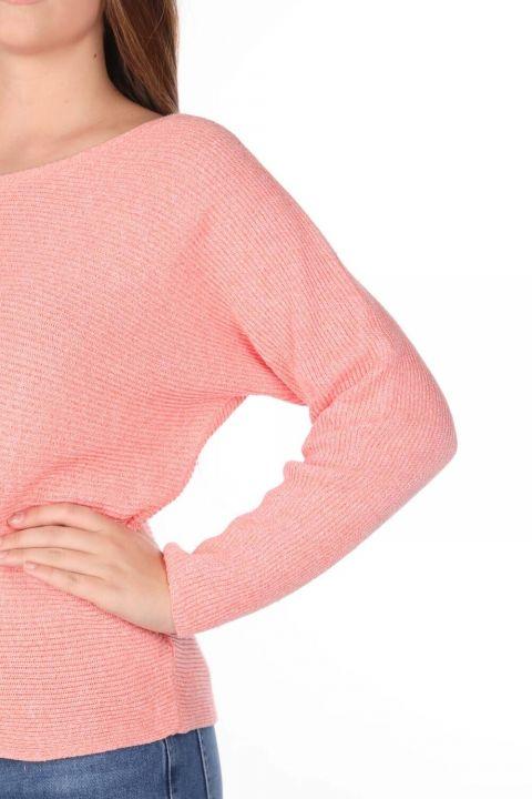 Salmon Crew Neck Women's Knitwear Sweater
