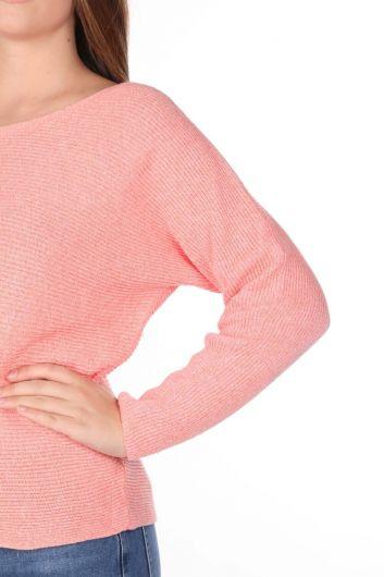 Женский трикотажный свитер Salmon с круглым вырезом - Thumbnail