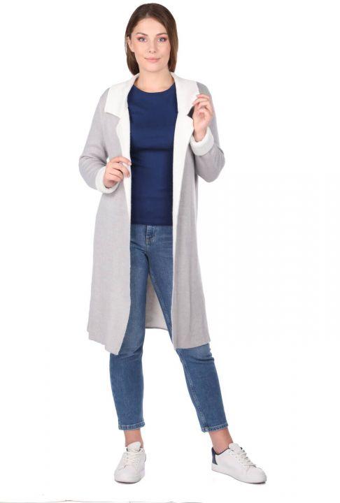 Gri Önü Açık Uzun Kadın Triko Hırka