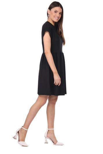 MARKAPIA WOMAN - Siyah Mini Düz Elbise (1)