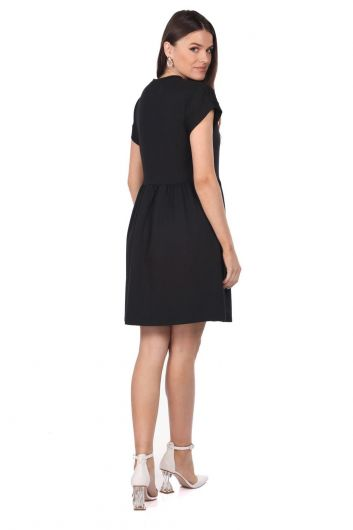 Siyah Mini Düz Elbise - Thumbnail