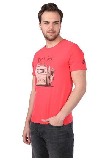 Beach Buys Printed Men's Crew Neck T-Shirt - Thumbnail