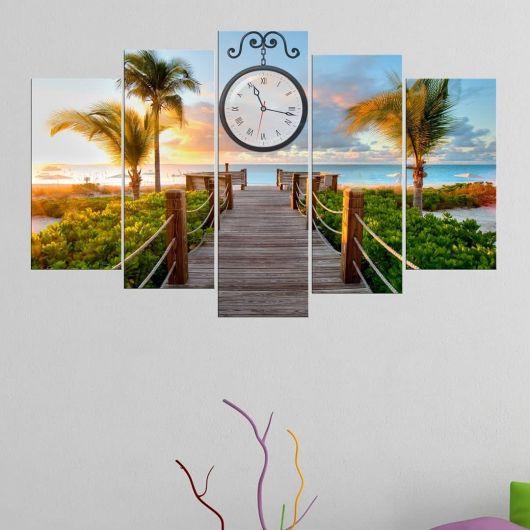 Beach View 5 Pieces Mdf Clock Table - Thumbnail