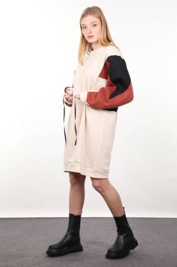فستان نسائي سترة باللون البيج - Thumbnail