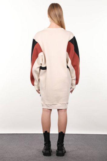 Beige Garnished Sweater Women Sweat Dress - Thumbnail