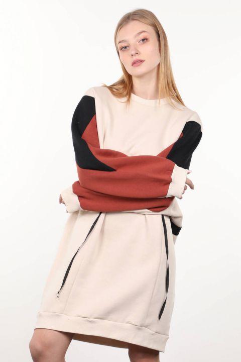 Beige Garnished Sweater Women Sweat Dress