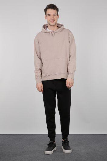 Beige Kangaroo Men's Hooded Sweatshirt with Pocket - Thumbnail
