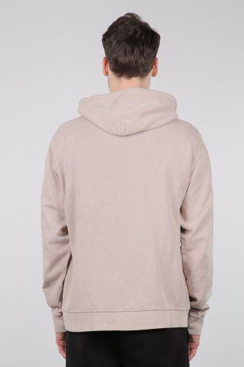 Бежевая мужская толстовка с капюшоном и карманом кенгуру - Thumbnail