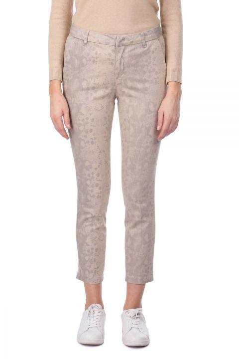 Beige Patterned Women's Jean Trousers