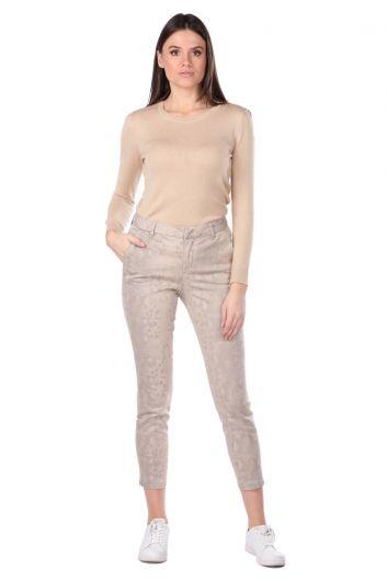Beige Patterned Women's Jean Trousers - Thumbnail