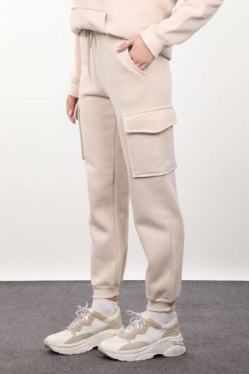 MARKAPIA WOMAN - Women's Beige Sweatpants with Cargo Pockets (1)