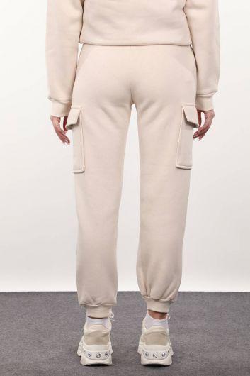 Women's Beige Sweatpants with Cargo Pockets - Thumbnail