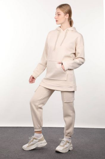 MARKAPIA WOMAN - Beige Sweatpants with Cargo Pockets Women's Tracksuit Set (1)