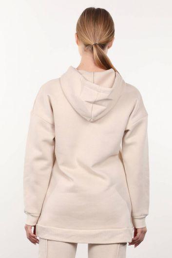 Beige Raffled Hooded Women's Sweatshirt - Thumbnail