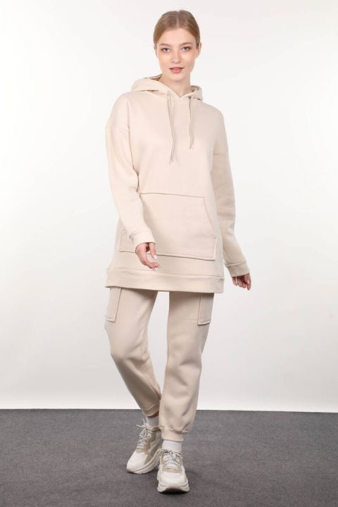 Beige Raffled Hooded Women's Sweatshirt