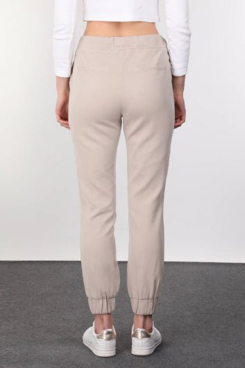 Beige Women's Jogger Trousers - Thumbnail