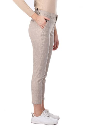 MARKAPIA WOMAN - Beige Patterned Women's Jean Trousers (1)