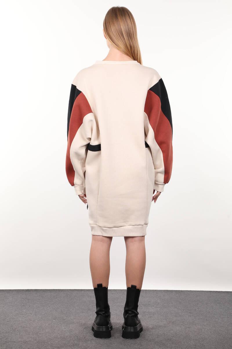Bej Garnili Şardonlu Kadın Sweat Elbise