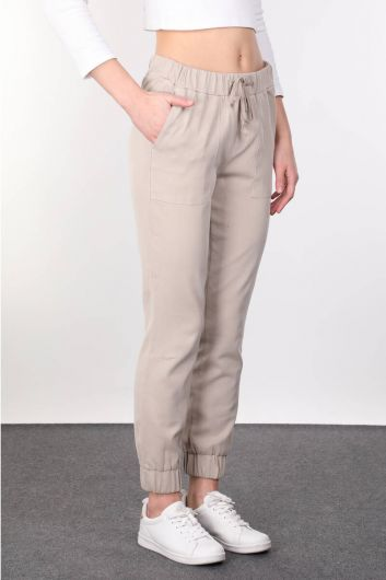 MARKAPIA WOMAN - Beige Women's Jogger Trousers (1)