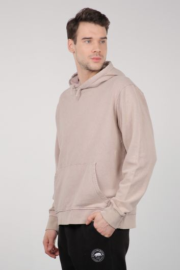 MARKAPIA MAN - Beige Kangaroo Men's Hooded Sweatshirt with Pocket (1)