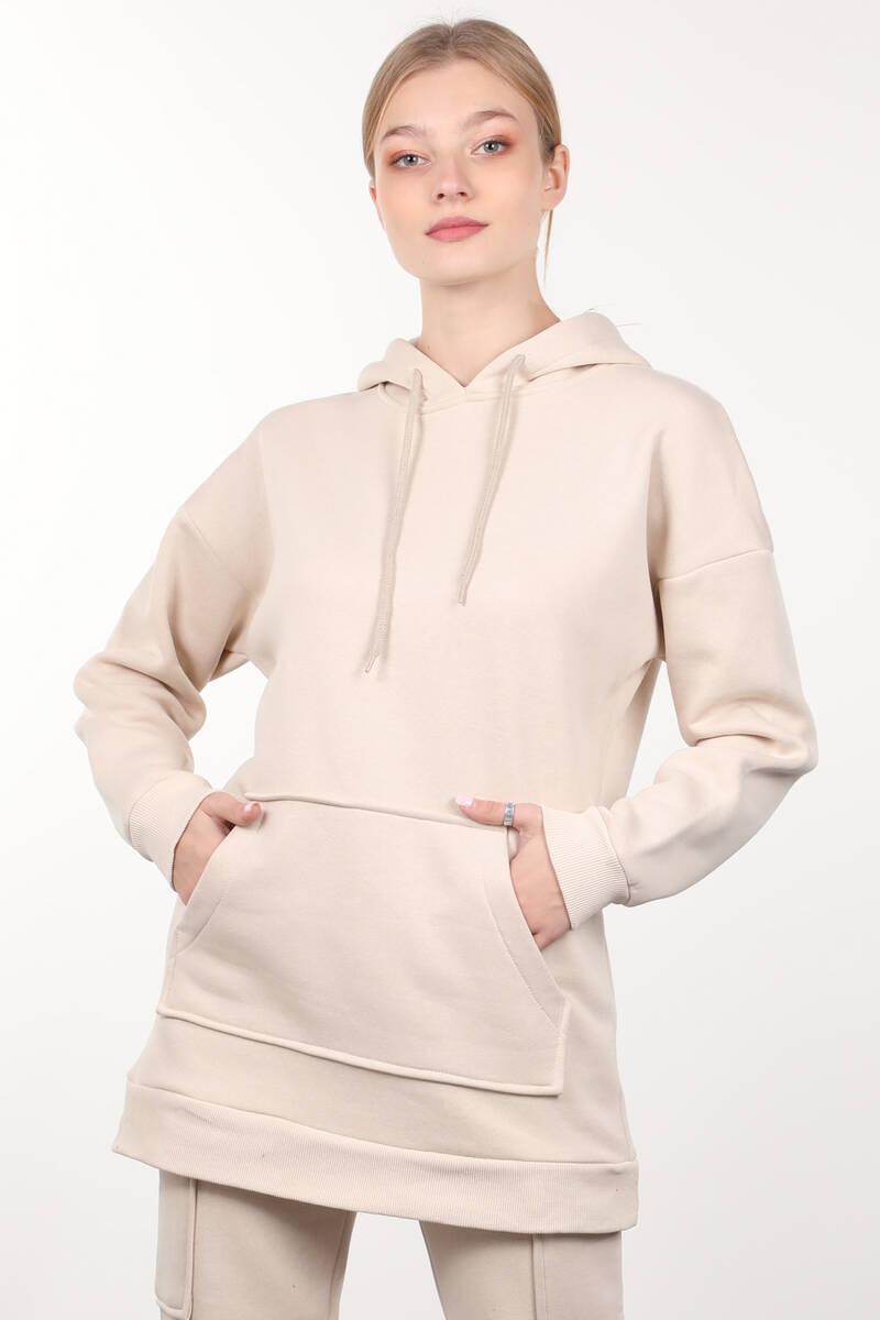 Bej Şardonlu Kapüşonlu Kadın Sweatshirt