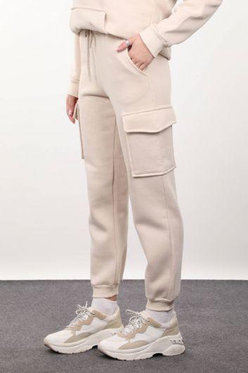 MARKAPIA WOMAN - Женский спортивный костюм бежевого цвета с шалью и карманом карго (1)