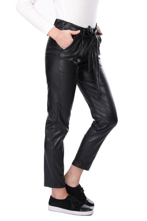 Beli Lastikli Bağlamalı Suni Deri Siyah Kadın Pantolon