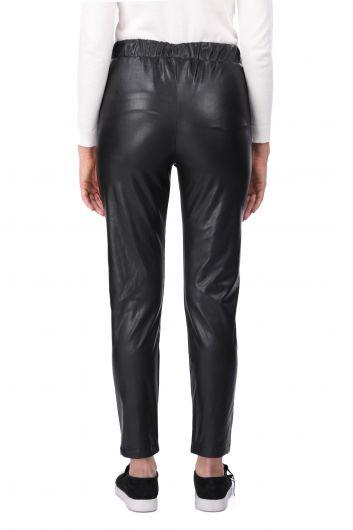 Beli Lastikli Bağlamalı Suni Deri Siyah Kadın Pantolon - Thumbnail