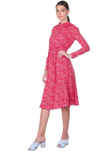 Beli Lastikli Çiçek Desenli Elbise - Thumbnail