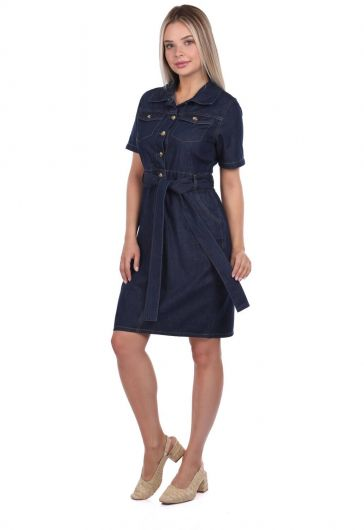 Banny Jeans - Banny Jeans Belt Detailed Jean Dress (1)