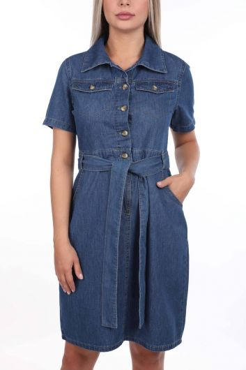 Banny Jeans Belt Detailed Jean Dress - Thumbnail