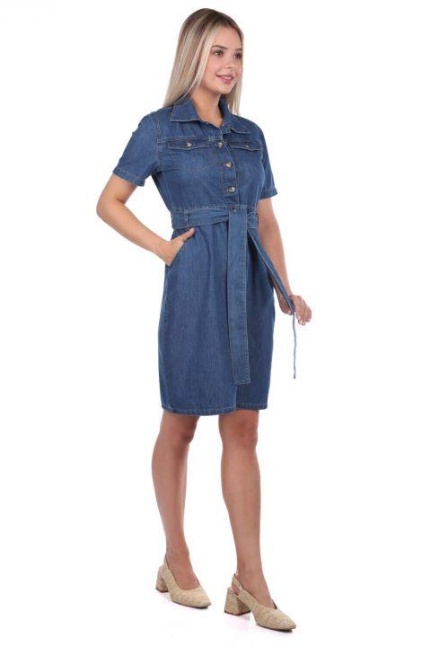 Banny Jeans Belt Detailed Jean Dress
