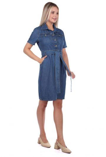 Джинсовое платье с поясом Banny Jeans - Thumbnail