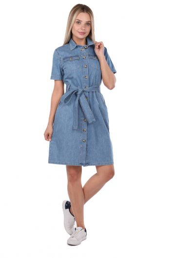 BLUE WHITE - Belt Detailed Jean Dress (1)