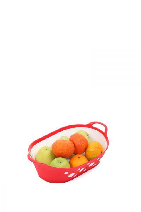 Benekli Oval Ekmek ve Meyve Sepeti