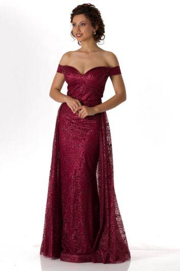 فستان خطوبة طويل بورجوندي مكشوف الأكتاف - Thumbnail