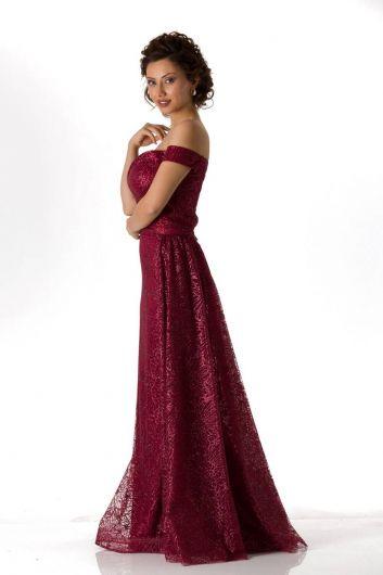 shecca - Düşük Omuz Bordo Uzun Nişan Elbisesi (1)