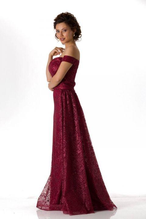 Düşük Omuz Bordo Uzun Nişan Elbisesi