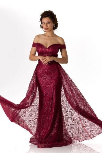 Düşük Omuz Bordo Uzun Nişan Elbisesi - Thumbnail