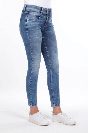 Джинсовые брюки с косой отделкой - Thumbnail