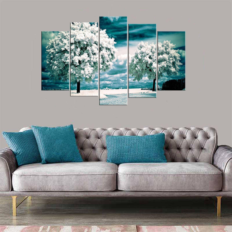 Beyaz Ağaçlar 5 Parçalı Mdf Tablo