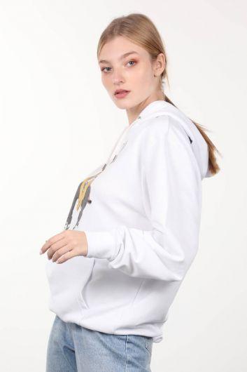 MARKAPIA WOMAN - Белый свободный свитшот с капюшоном и принтом (1)