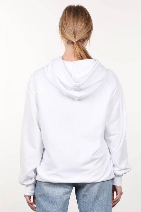 Beyaz Baskılı Kapüşonlu Oversize Kadın Sweatshirt