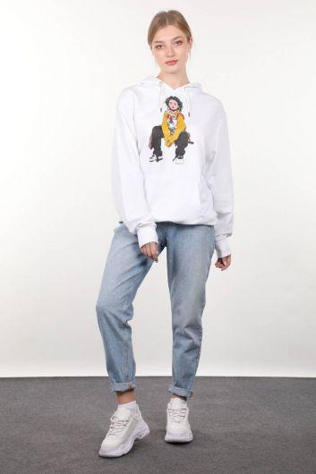Beyaz Baskılı Kapüşonlu Oversize Kadın Sweatshirt - Thumbnail