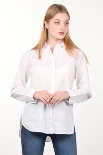 Beyaz Boyfriend Kadın Gömlek - Thumbnail