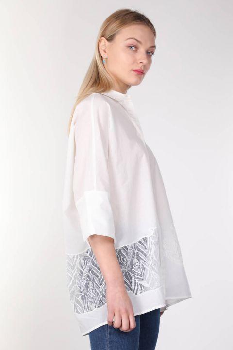 Beyaz Güpür Detaylı Yarasa Kol Kadın Gömlek
