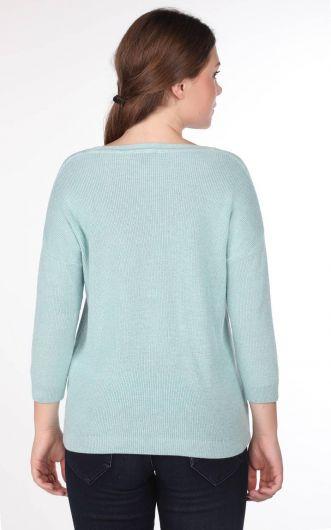 Женский трикотажный свитер с круглым вырезом - Thumbnail