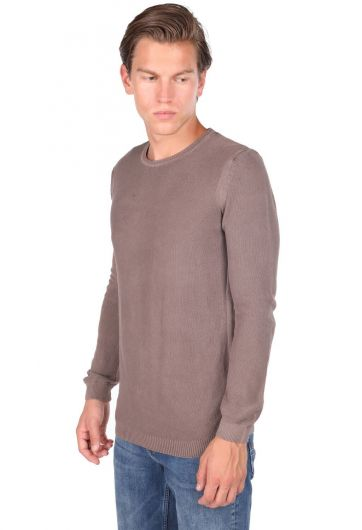 MARKAPIA MAN - Коричневый мужской свитер с круглым вырезом (1)